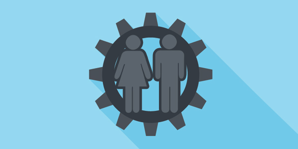 icon of man and woman within a cog signifying human emotion