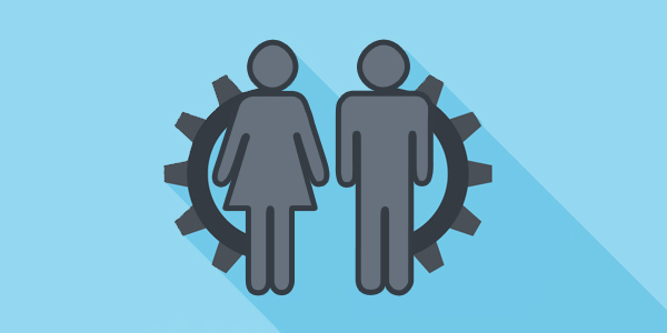 cog behind icon of man and woman