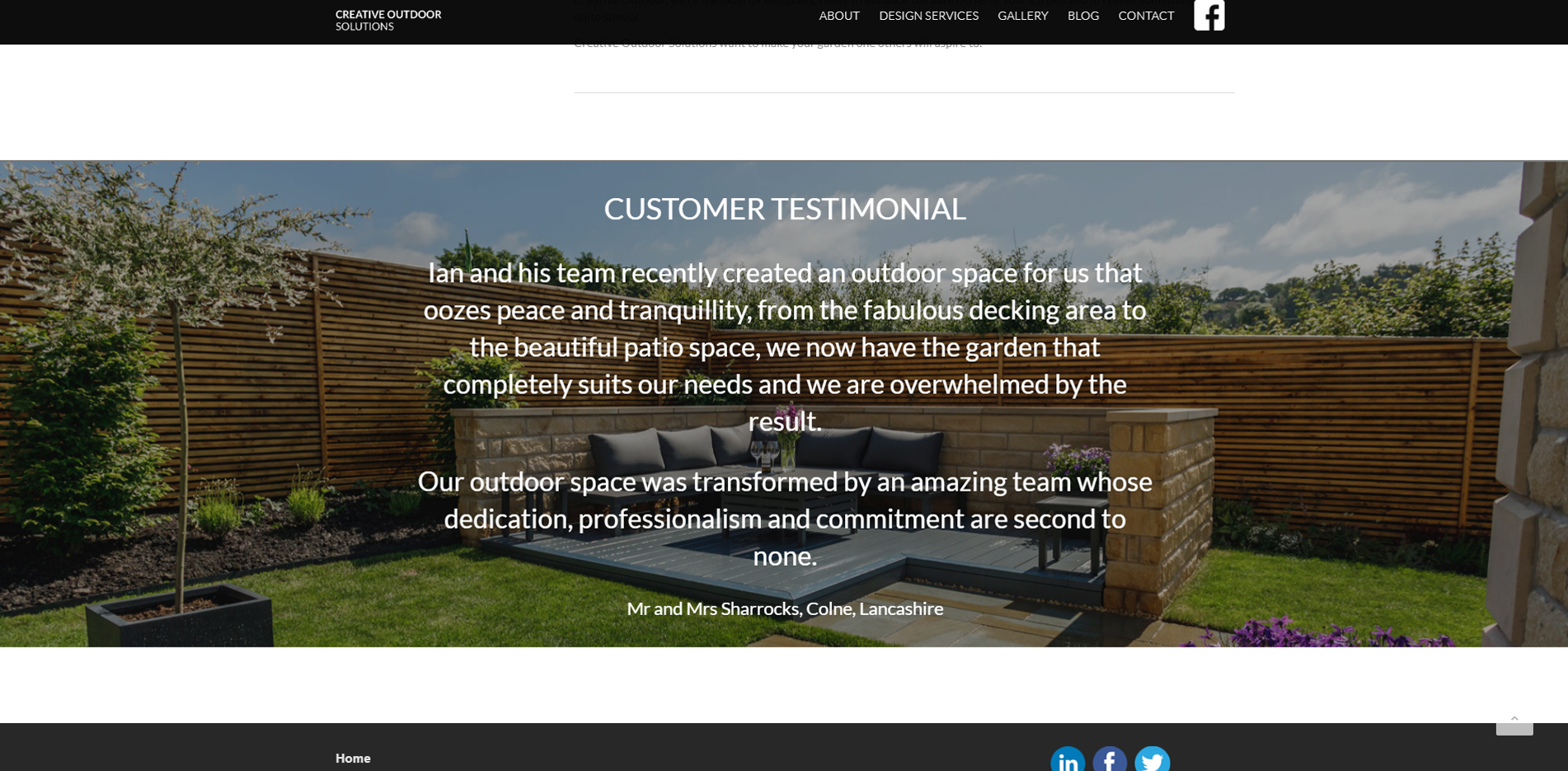 Creative Outdoor Solutions testimonials page