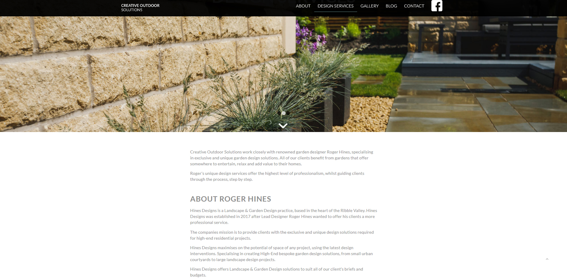 Creative Outdoor Solutions inner page example